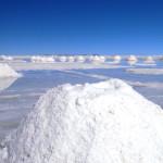 ウユニ塩湖の塩の山