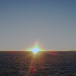 ウユニ塩湖の日没
